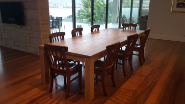 Amercian White Oak Table coated in a White Wash with a Satin Finish