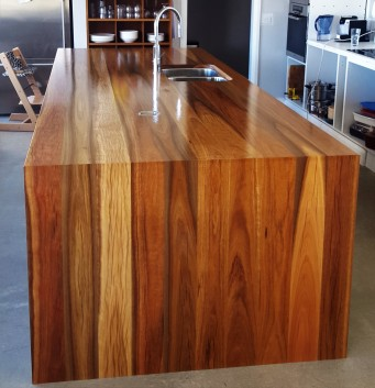Spotted Gum Solid Timber Benchtop with waterfall end