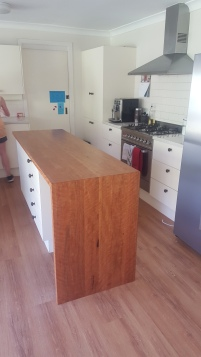 Blackbutt Solid Timber Island Benchtop with waterfall end