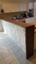 American White Oak Solid Timber Servery Benchtop with a Walnut finish